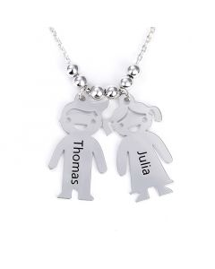 Engraved Children Charms Sterling Silver Mother's Necklace