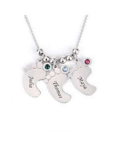 Jeulia  Baby Feet Engraved Necklace With Birthstones Sterling Silver