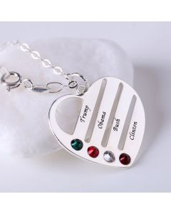 Heart Shape Family Necklace with Birthstones Sterling Silver