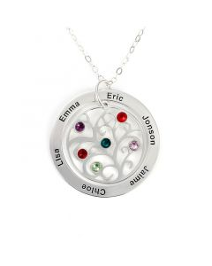 Family Tree Necklace with Birthstones Sterling Silver