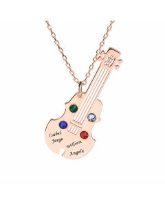 Jeulia Guitar Personalized Sterling Silver Necklace
