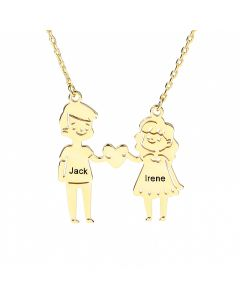 Couple Personalized Sterling Silver Necklace