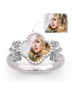 """Lucky Filled of My Life"" Sterling Silver Personalized Photo Ring"