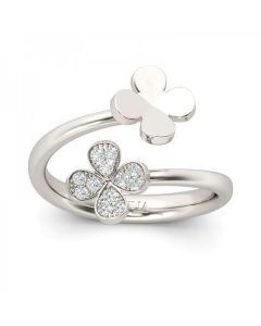 Four Leaf Clover Design Sterling Silver Ring