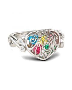Jeulia  Heart Shape Birthstones Sterling Silver Ring