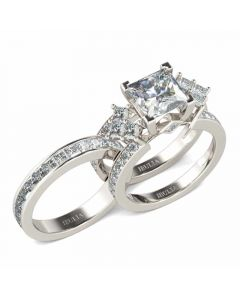 Unique Princess Cut Sterling Silver Interchangeable Ring Set