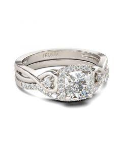 Jeulia Halo Cushion Cut Sterling Silver Ring Set