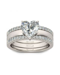Jeulia Shining Heart Cut Sterling Silver Enhancer Ring Set