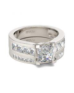 Classic Princess Cut Sterling Silver Ring Set
