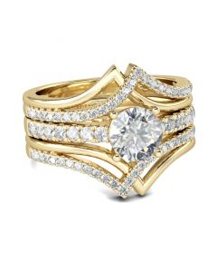 Jeulia Gold Tone Interwoven Round Cut Sterling Silver 3PC Ring Set