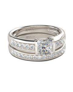 Jeulia Tension Set Princess Cut Sterling Silver Ring Set