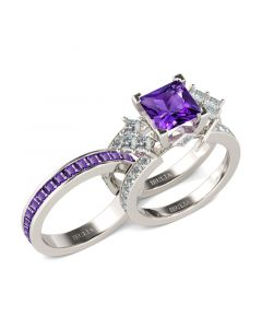 Cluster Princess Cut Sterling Silver Ring Set