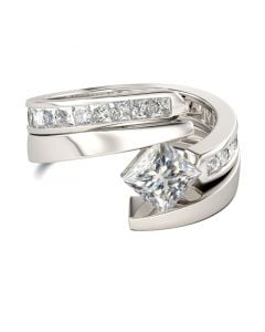 Jeulia Bypass Princess Cut Sterling Silver Ring Set