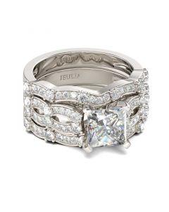 Jeulia 3PC Princess Cut Sterling Silver Ring Set