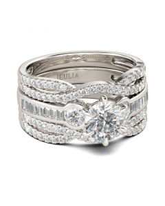 Classic Three Stone Round Cut Sterling Silver Ring Set