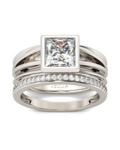 Jeulia Split Shank Princess Cut Sterling Silver Ring Set