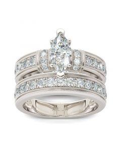 Art Deco Milgrain Marquise Cut Sterling Silver Ring Set