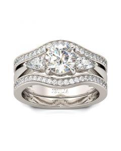 Three Stone Round Cut Sterling Silver Enhancer Ring Set