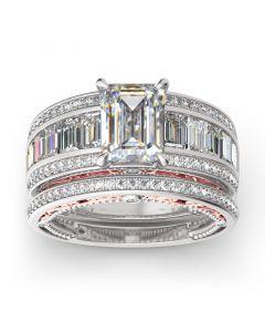 Jeulia Emerald Cut Sterling Silver Ring Set