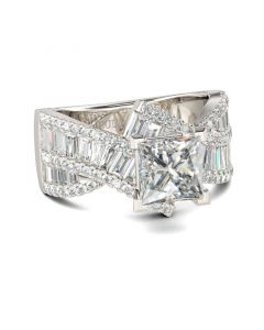 Vintage Princess Cut Sterling Silver Ring