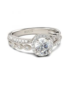 Jeulia Beaded Halo Round Cut Sterling Silver Ring