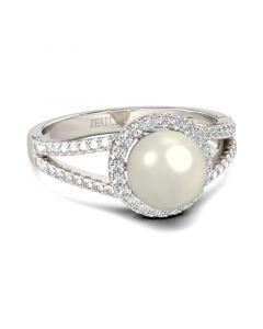 Jeulia Halo Split Shank Faux Pearl Sterling Silver Ring
