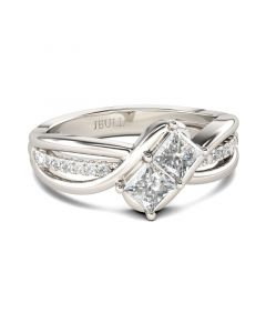 Jeulia Bypass Princess Cut Sterling Silver Ring