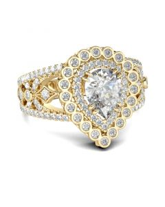 Jeulia Gold Tone Double Halo Pear Cut Sterling Silver Ring