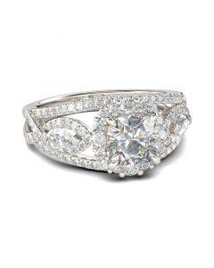 Jeulia Halo Cushion Cut Sterling Silver Ring
