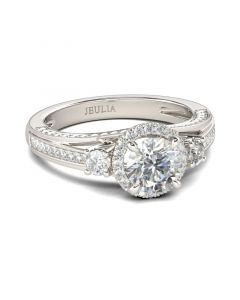 Jeulia Classic Halo Round Cut Sterling Silver Ring
