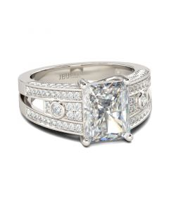 Jeulia Vintage Radiant Cut Sterling Silver Ring