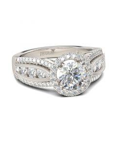 Jeulia Halo Milgrain Round Cut Sterling Silver Ring
