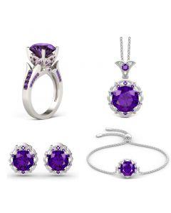 Amethyst Flower Round Cut Sterling Silver Jewelry Set