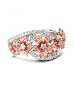 Jeulia Floral Sterling Silver Women's Band