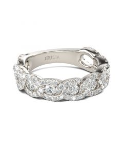 Interlock Round Cut Sterling Silver Women's Band