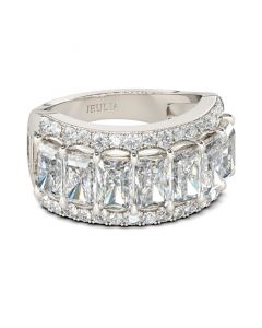 Jeulia Radiant Cut Sterling Silver Women's Band