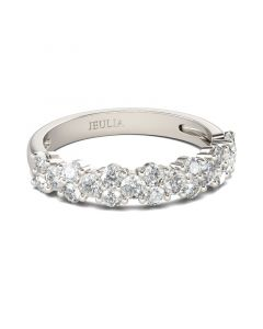 Jeulia Dainty Round Cut Sterling Silver Women's Band