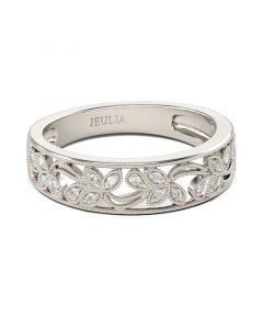 Milgrain Round Cut Sterling Silver Women's Band