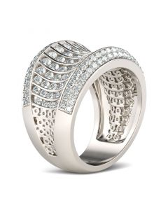 Wide Pave Round Cut Sterling Silver Women's Band
