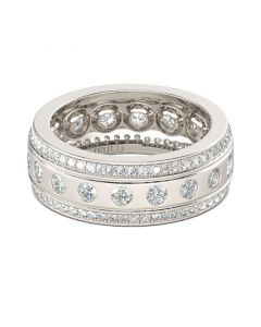 Classic Round Cut Sterling Silver Women's Band