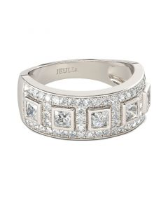 Bold Princess Cut Sterling Silver Women's Band