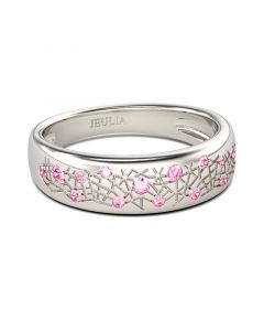 Jeulia Carving Design Round Cut Sterling Silver Women's Band