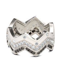 Jeulia Chevron Round Cut Sterling Silver Women's Band