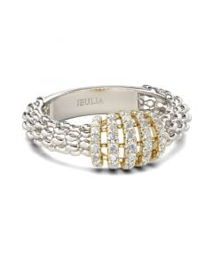 Jeulia Two Tone Sterling Silver Women's Band