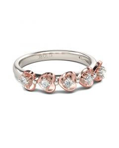 Two Tone Heart Round Cut Sterling Silver Women's Band