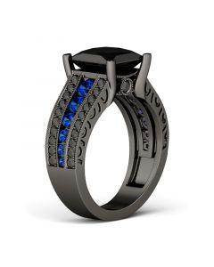 Black Vintage Princess Cut Sterling Silver Ring