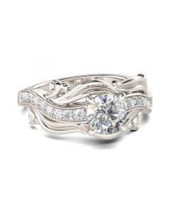 Leaf Round Cut Sterling Silver Ring