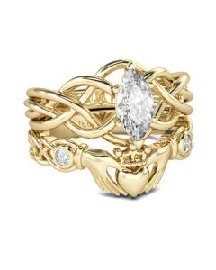 Intertwined Claddagh Sterling Silver Ring Set
