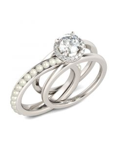 Halo Round Cut With Faux Pearl Sterling Silver Ring Set