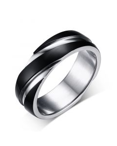 Black Simple Titanium Steel Men's Band